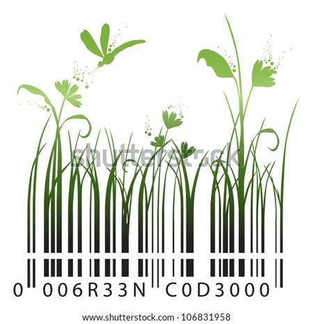 green barcode - stock vector