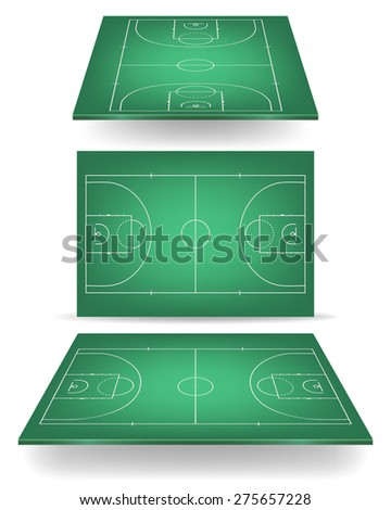 Green basketball court with perspective. Vector EPS10 illustration.  - stock vector