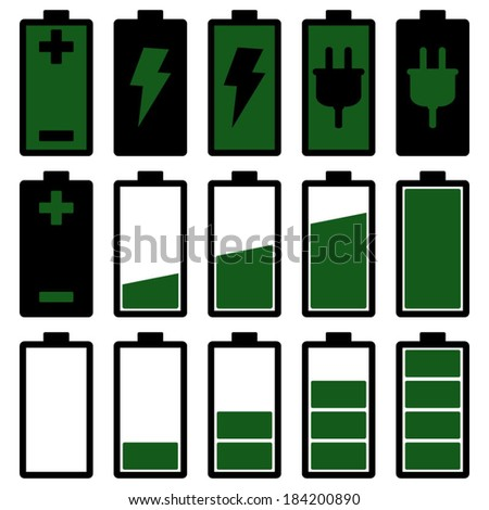 Green Battery Icons Set  - stock vector