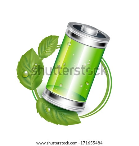 green battery in recycle concept isolated on white - stock vector