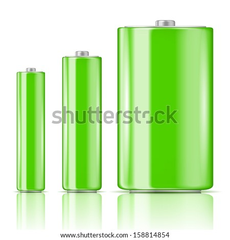 Green battery set, three sizes: AAA, AA, D. Ready for your design. Vector illustration. - stock vector