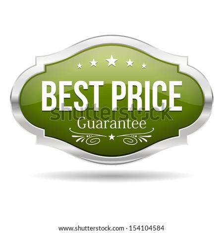 Green best price shield - stock vector