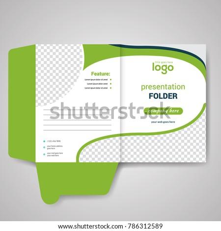 Green Bi Fold Presentation Folder Design Stock Vector 786312589