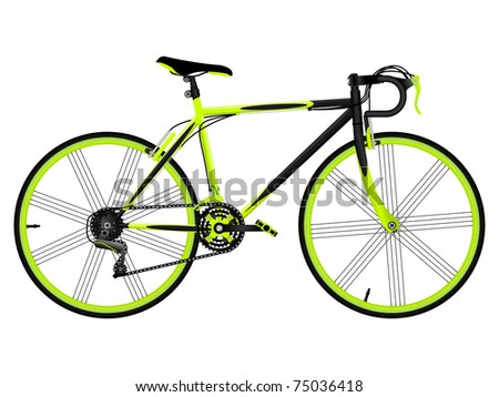 Green bicycle isolated on white - stock vector