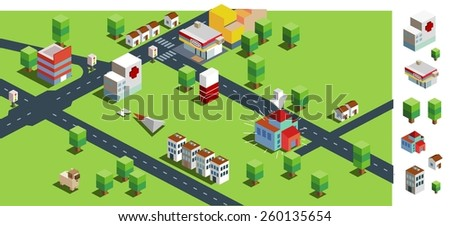 green big city. vector illustration - stock vector