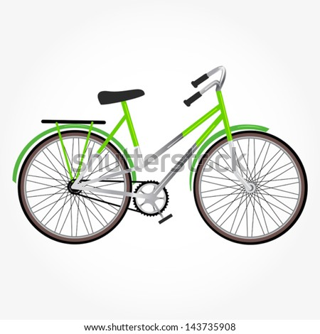 green bike isolated on the white background