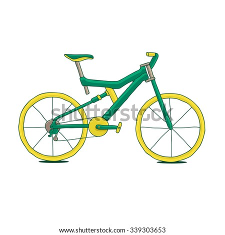 Green bike with yellow wheels, painted by hand. Vector illustration on white background.