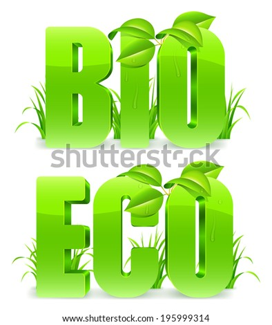 Green Bio and Eco words, with fresh leaves and grass.