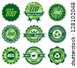 green bio, eco, organic label set with differently varied modern, vintage elements, eps 8 , no transparencies, ideal for prints - stock photo