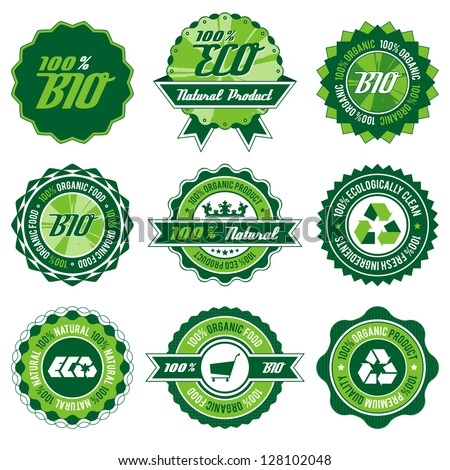 green bio, eco, organic label set with differently varied modern, vintage elements, eps 8 , no transparencies, ideal for prints - stock vector