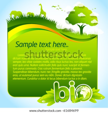 Green bio template with tree and wild life - stock vector