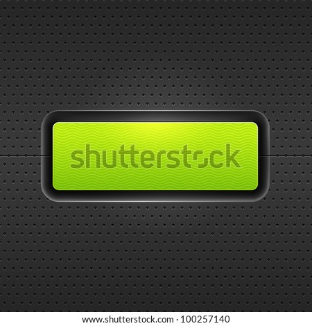 Green blank internet web button. Satin rounded rectangle form with shadow and glow on black metal background perforation seamless pattern. Vector 10 eps. - stock vector
