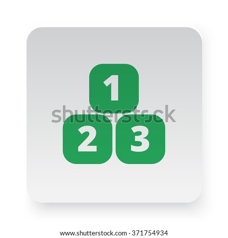 Green 123 Blocks icon in circle on white app button - stock vector