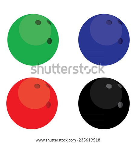 Green, blue, black, red bowling balls isolated on white vector - stock vector
