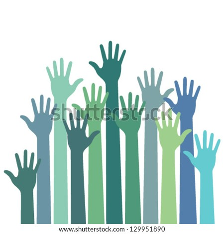 green - blue colorful up hands logo, vector illustration - stock vector