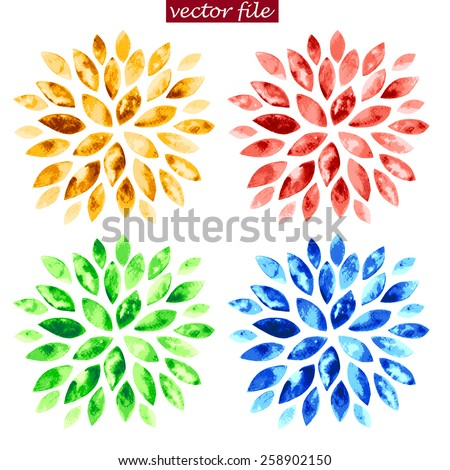 Green, blue, red and yellow watercolor vector sunburst flowers isolated on white. - stock vector