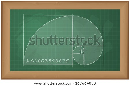 Green Board with Golden ratio - Illustration