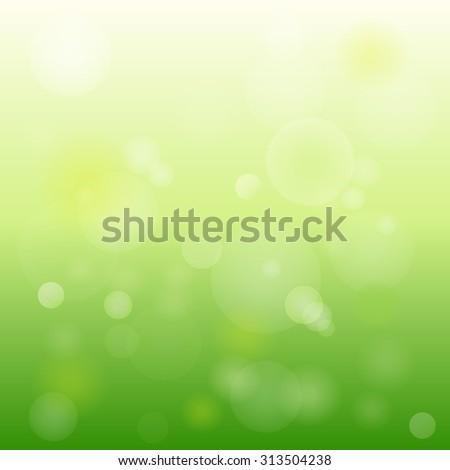 Green bokeh abstract light background. Vector illustration - stock vector