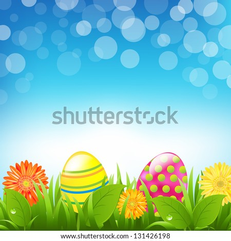 Green Border With Grass And Color Eggs And Bokeh With Gradient Mesh, Vector Illustration