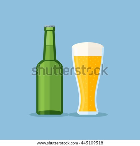 Green bottle and glass with beer on blue background. Flat style vector illustration.