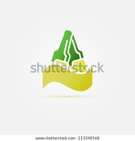 Green bottles of beer vector icon or symbol on a gold wave - stock vector