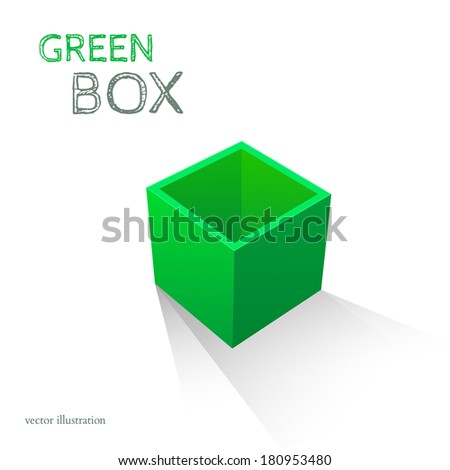 Green Box isolated on white background. Vector