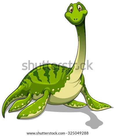 Green brachiosaurus with long neck illustration - stock vector