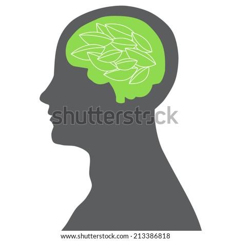 green brain - stock vector