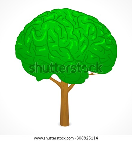 Green BRAIN tree - stock vector