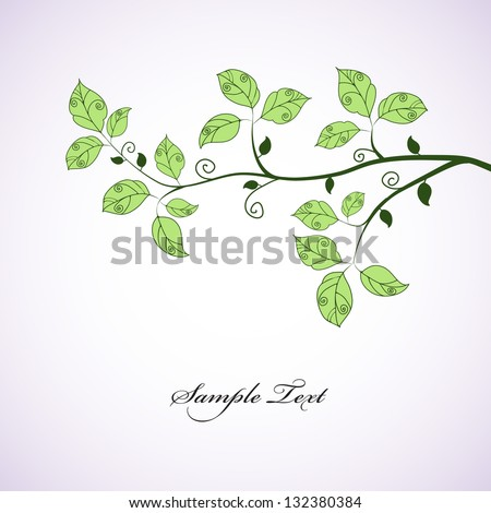 Green branch. Seasonal background. - stock vector