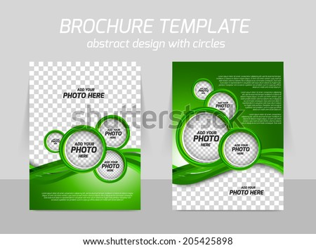 Green brochure with circles and wave for template leaflet booklet design - stock vector