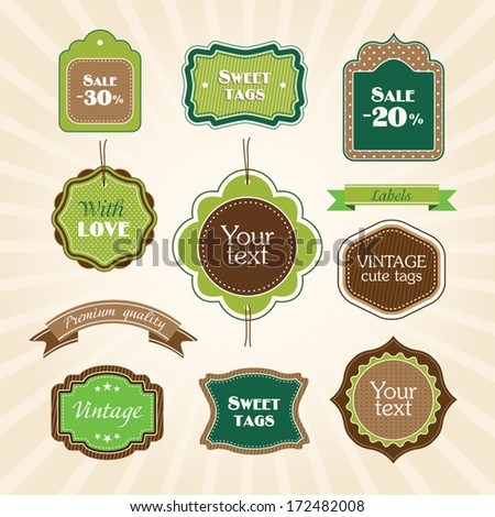 Green brown cute labels collection