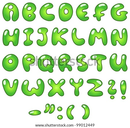 Green bubble-shaped alphabet