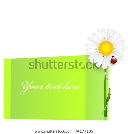 Green bubble speech with chamomile - stock vector