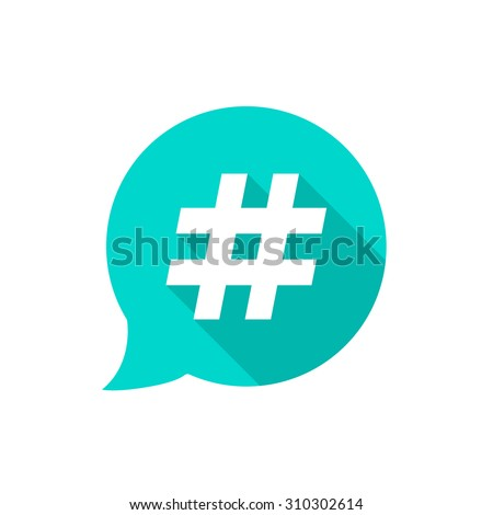 green bubble with hashtag and long shadow. concept of number sign, social media, micro blogging pr popularity. isolated on white background. flat style trend modern logotype design vector illustration - stock vector