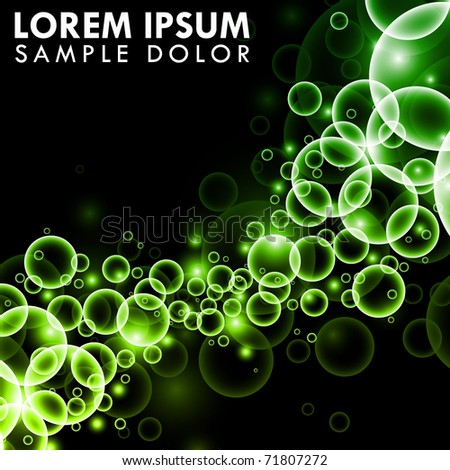 Green Bubbles on black background - stock vector