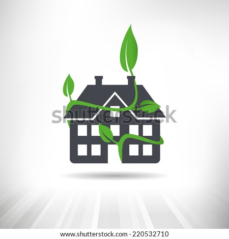 Green Building Concept. House surrounded by green leaves. Fully scalable vector illustration. - stock vector