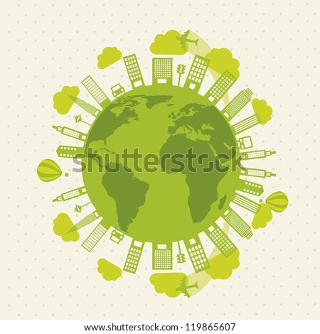 green buildings and transport, ecology. vector illustration