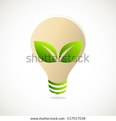 Green Bulb with leaf inside, green eco energy concept - stock vector
