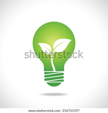 Green Bulb with leaves inside on white background. Eco concept.