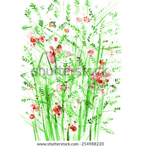 green bushes with red berries/  watercolor painting/ vector illustration  - stock vector