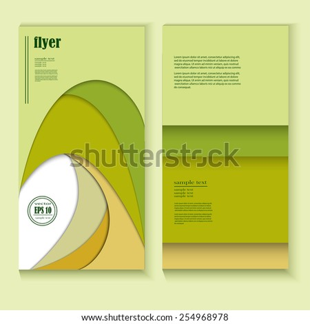 Green Business Front and Back Flyer Template - stock vector