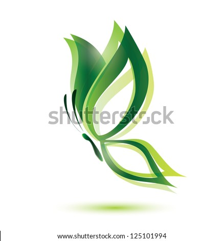 green butterfly, ecology concept, isolated vector symbol - stock vector