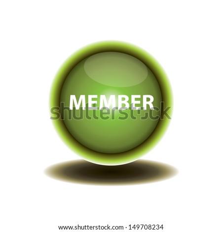 green button member design. vector illustration. - stock vector