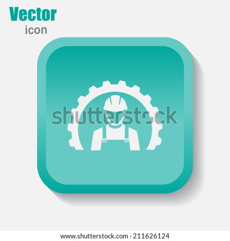 Green button on a gray background - stock vector