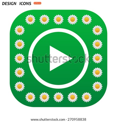 Green button with white daisies for mobile applications. play. icon. vector design - stock vector