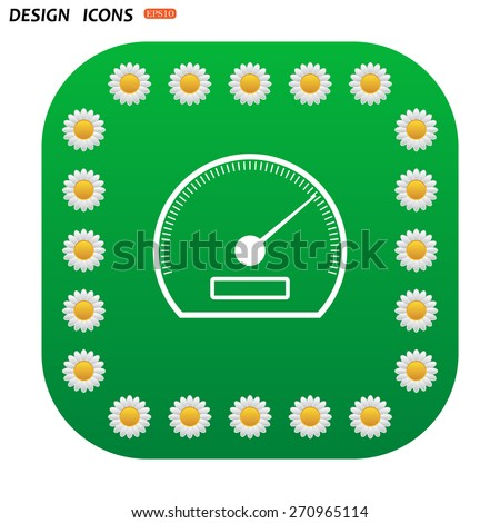 Green button with white daisies for mobile applications. speedometer. icon. vector design  - stock vector