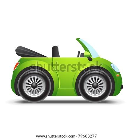 Green cabriolet - stock vector