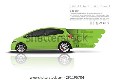 Green car concept, Car infographics design.vector   - stock vector