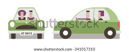 Green car front and side, driver and passenger, flat design, vector cartoon illustration